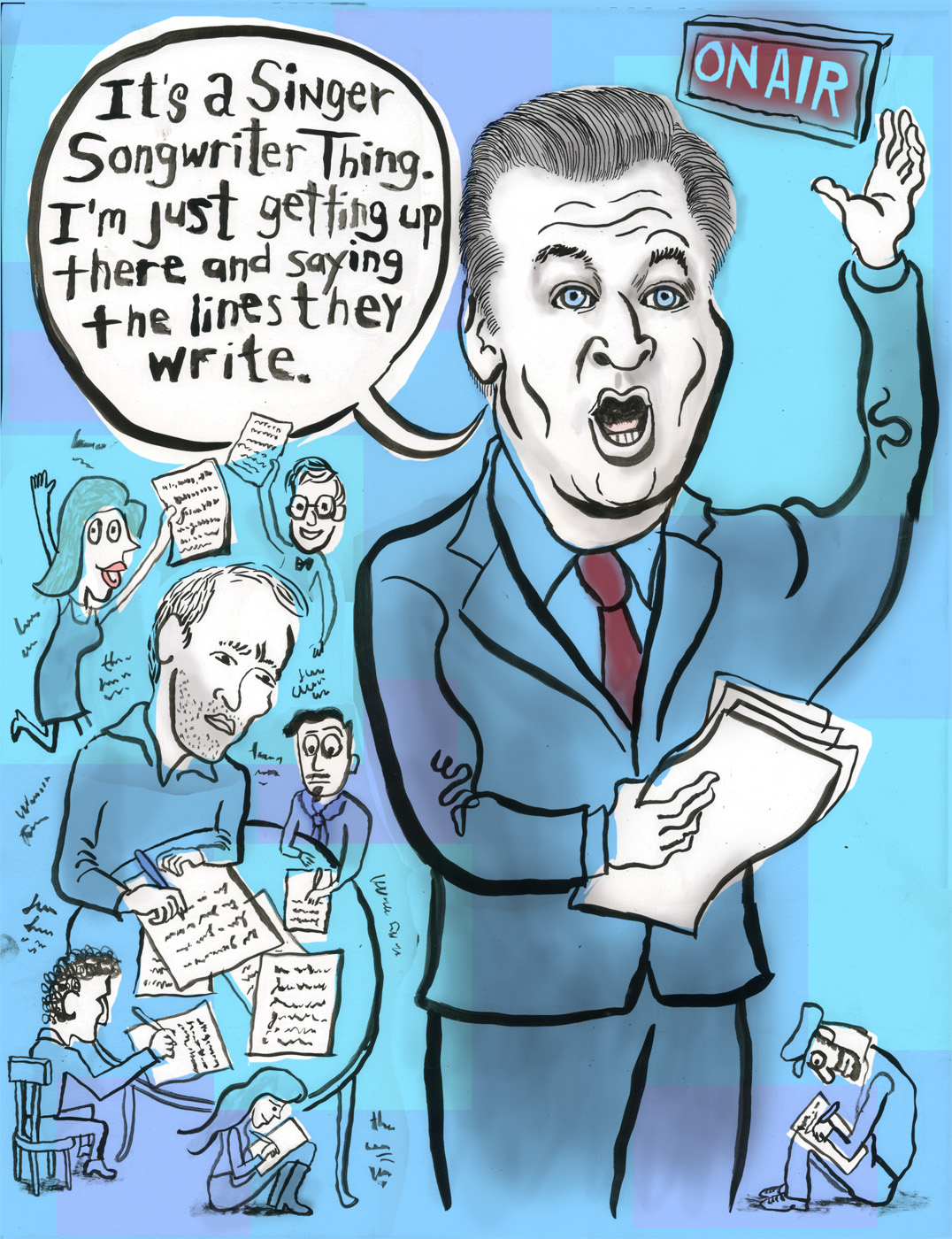"Illustration of Alec Baldwin, Robert Carlock and the ""30 Rock"" writers by Josh Gosfield"